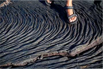 walking across lava flow rock