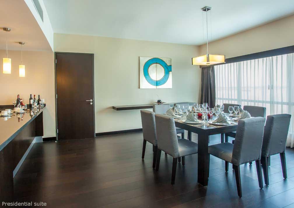 Presidential suite dining room